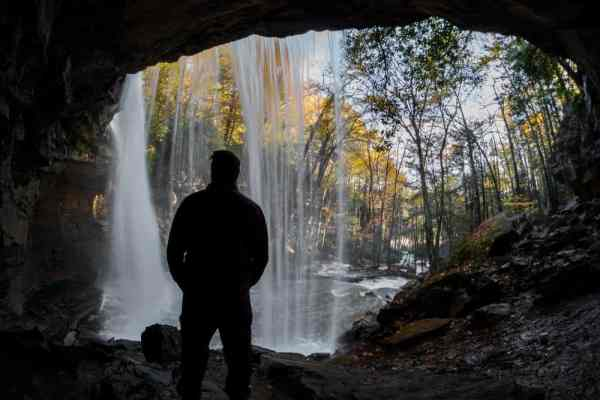 Going behind Cucumber Falls in the Laurel Highlands