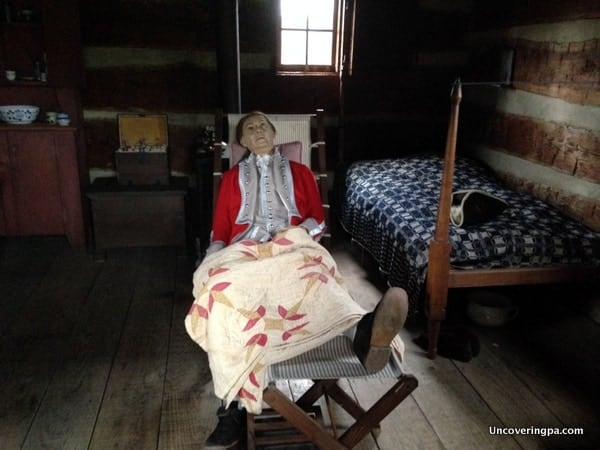 A diorama of General Forbes in his quarters at Fort Ligonier in the Laurel Highlands of Pennsylvania.