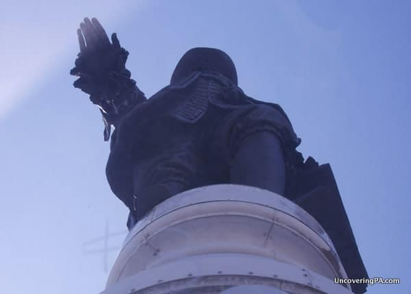 Looking up at the giant William Penn statue atop Philadelphia's City Hall.