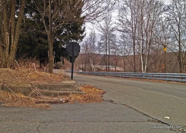 A lonely street corner in Centralia.