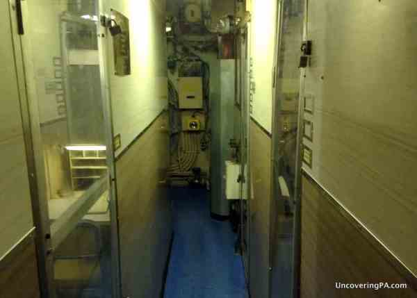 The cramped interior of the Submarine Becuna seen while visiting the Independence Seaport Museum in Philadelphia, Pennsylvania.