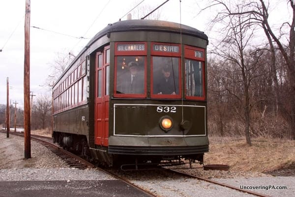 The New Orleans streetcar to Desire plies the tracks at the Pennsylvania Trolley Museum.