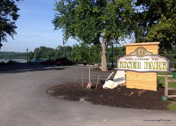 Koser Park, the parking area for the White Cliffs of Conoy, sits at the end of Race Street in Bainbridge.