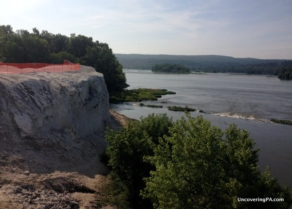 The cliffs provide a great view of the Susquehanna River, but the orange safety fence is quite the eyesore at the White Cliffs of Conoy.