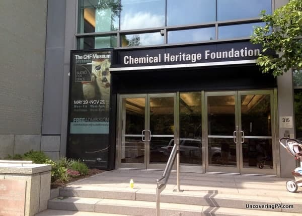 The entrance to the Chemical Heritage Foundation Museum in Philadelphia, Pennsylvania.