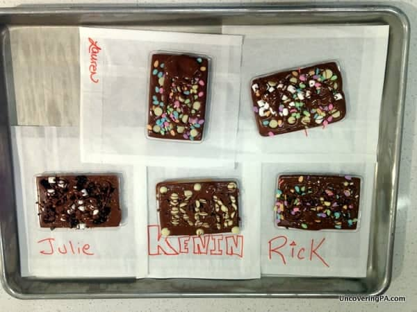Finished chocolate bars from the Chocolate Lab at The Hershey Story.