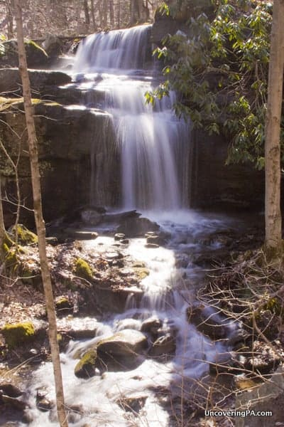 Fechter Run Falls. If you want to photograph this waterfall, it's best not to visit on a sunny afternoon.