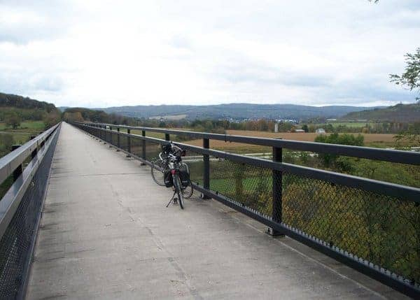 Riding along the Great Allegheny Passage trail in southwestern Pennsylvania.