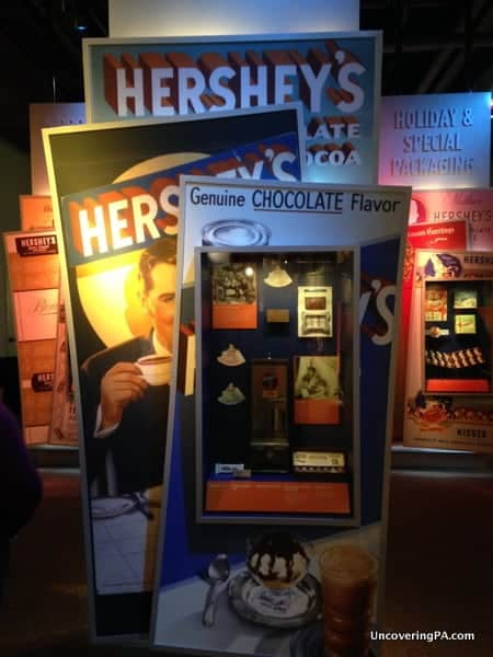 Old Hershey advertisements on display at The Hershey Story in Hershey, Pennsylvania.