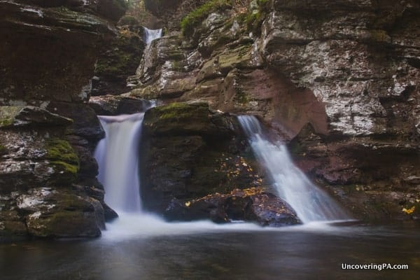 The lower portion of Adams Falls in Ricketts Glen State Park as seen from the far bank of Kitchen Creek.