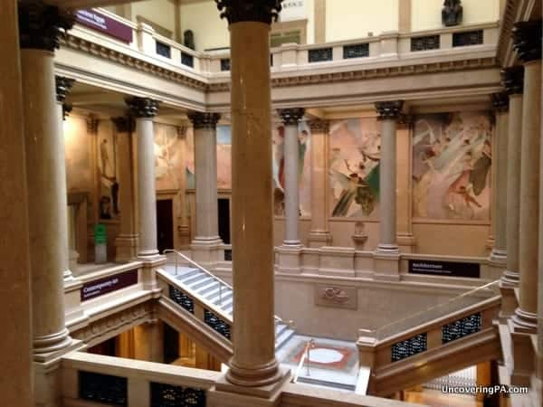 The beautiful grand staircase seen while visiting the Carnegie Museum of Art in Pittsburgh, Pennsylvania.