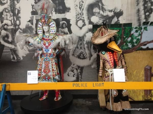 Historic and strange Mummers' costumes on display at the Mummers Museum in Philadelphia, Pennsylvania.