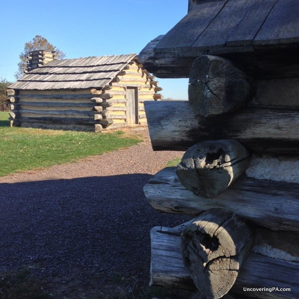 Reconstructed cabins show was life was like for the soldiers at Valley Forge.