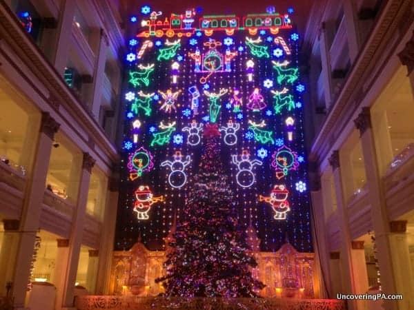 the christmas light show inside the wanamaker building is one of phillys best christmas traditions