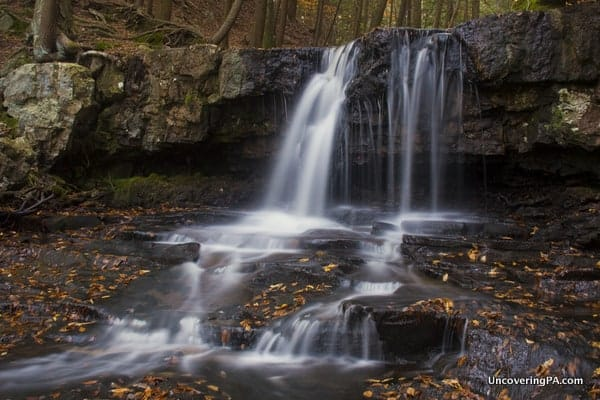 The upper portion of Dutchman Falls along the Loyalsock Trail in Sullivan County, Pennsylvania.