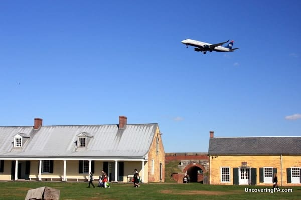 Plane watching at Fort Mifflin in Philadelphia, Pennsylvania.