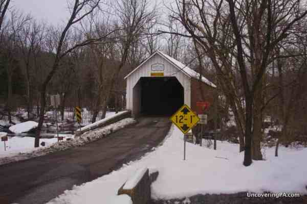 Sheard's Mill Covered Bridge over Tohickon Creek in Bucks County, PA.