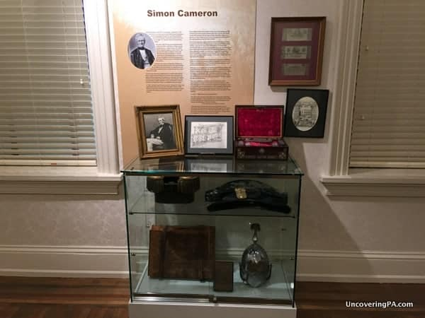 Simon Cameron display at the Harris-Cameron Mansion in Harrisburg, PA.