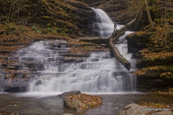 Huron Falls along the Falls Trail in Ricketts Glen State Park in PA