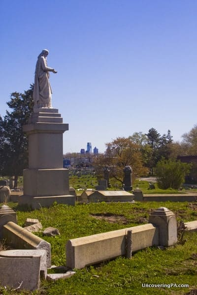 Gravestones at Mount Moriah Cemetery in Philadelphia, Pennsylvania.