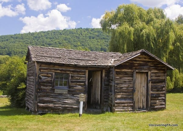 One of the recreated cabins at French Azilum in Bradford County, PA