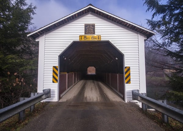 Approaching McGee's Mill Covered Bridge in Clearfield County, Pennsylvania.