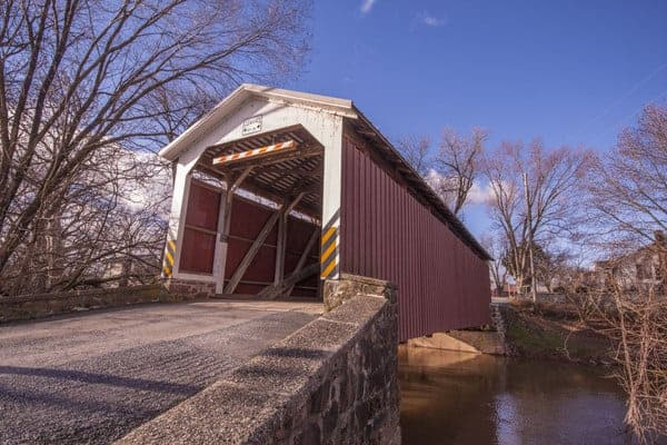 Bucher's Mill Covered Bridge in Lancaster County, Pennsylvania.