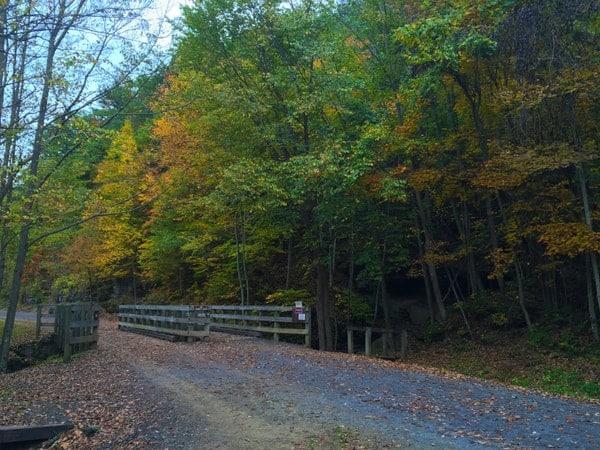 Biking the Pine Creek Rail Trail in Tioga County, Pennsylvania.