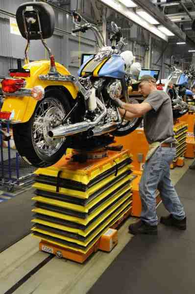 Tour of the Harley Davidson factory in York, Pennsylvania.