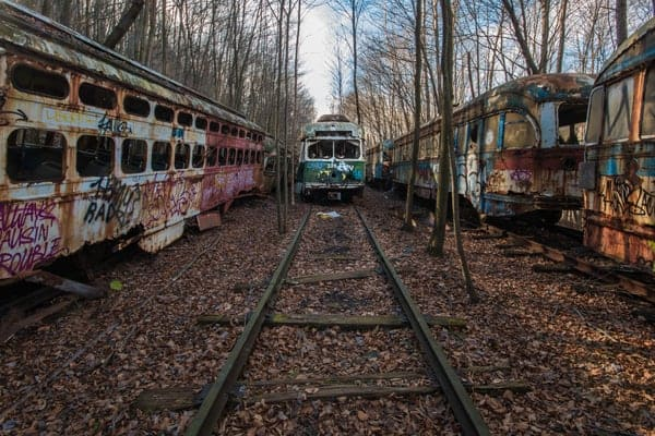 Abandoned Trolleys at the Vintage Electric Streetcar Company