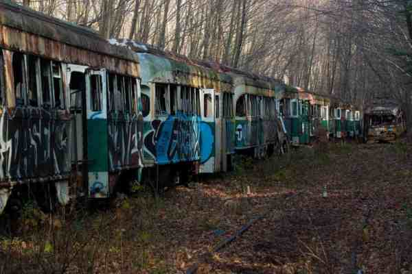 Visiting the Abandoned Trolley Graveyard in Pennsylvania