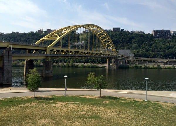 Fort Pitt Bridge from inside the Fort Pitt Museum
