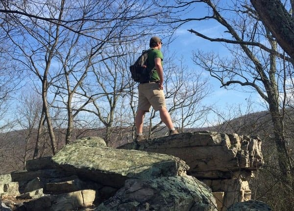 Hiking to the White Rocks on the Appalachian Trail in Pennsylvania.