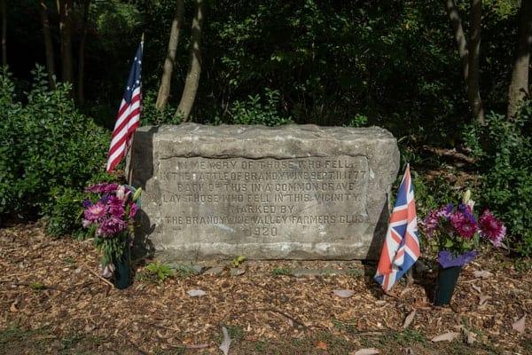 Grave marker at Battle of Brandywine.