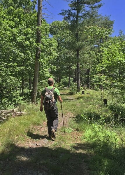 Hiking in the Cliff Park Trail System of the Delaware Water Gap National Recreation Area.