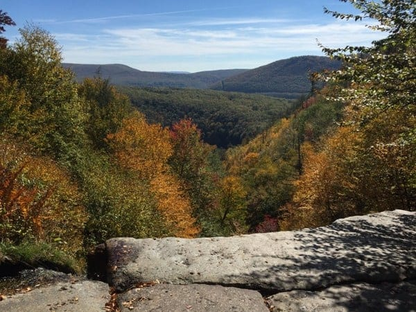 View from the top of Glen Onoko Falls in the Poconos.