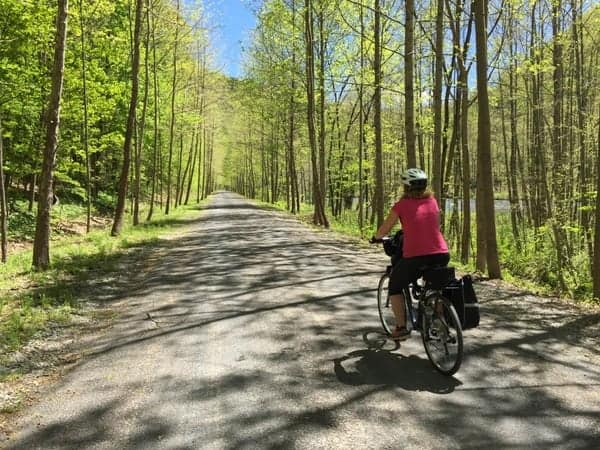 Biking the Pine Creek Rail Trail near Wellsboro, Pennsylvania