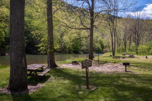Pine Creek Rail Trail Campground in Tiadaghton