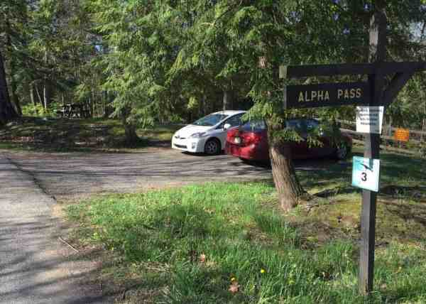 Parking area for Alpha Falls in McConnells Mill State Park in Lawrence County, PA