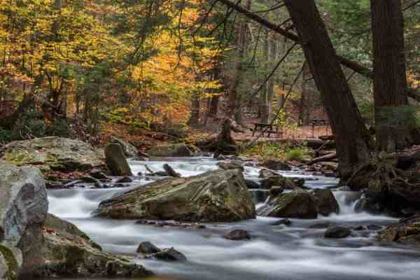 Hiking at Linn Run State Park near Ligonier, Pennsylvania