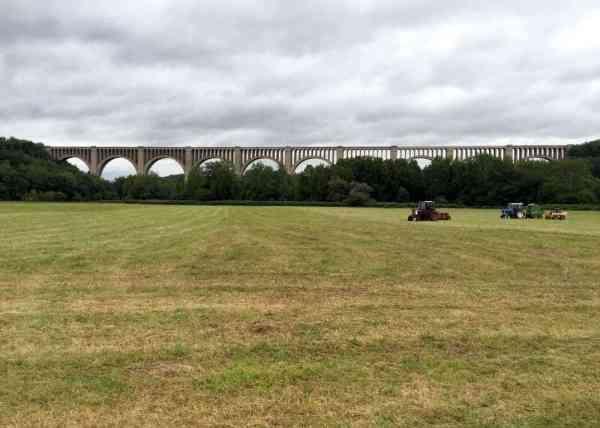 Nicholson Bridge as seen from over a field near town.