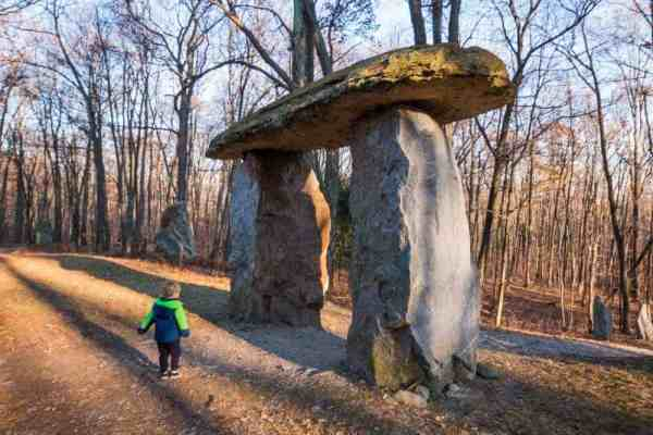 Hiking at Columcille Megalith Park near Stroudsburg, PA