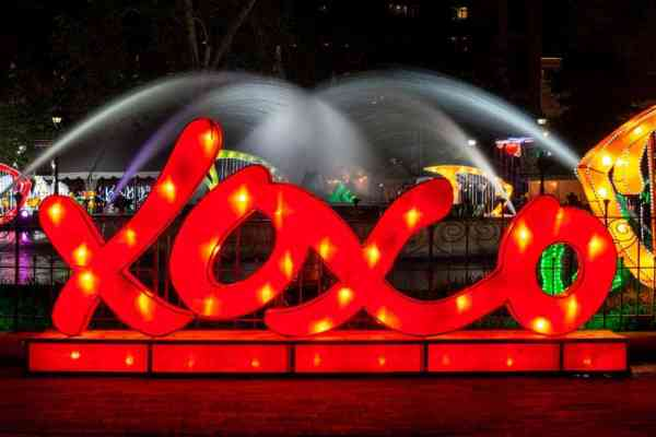 Love Philly sign at the Chinese Lantern Festival in Philadelphia, PA