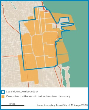 Census tracts within Chicago's Central Area: The 18 small tracts within Chicago's densely populated Central Area allow for a reasonable approximation of a local boundary.