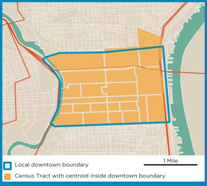 Census tracts within Philadelphia's Center City: The 22 tracts within Philadelphia's Center City almost perfectly align with the local borders.