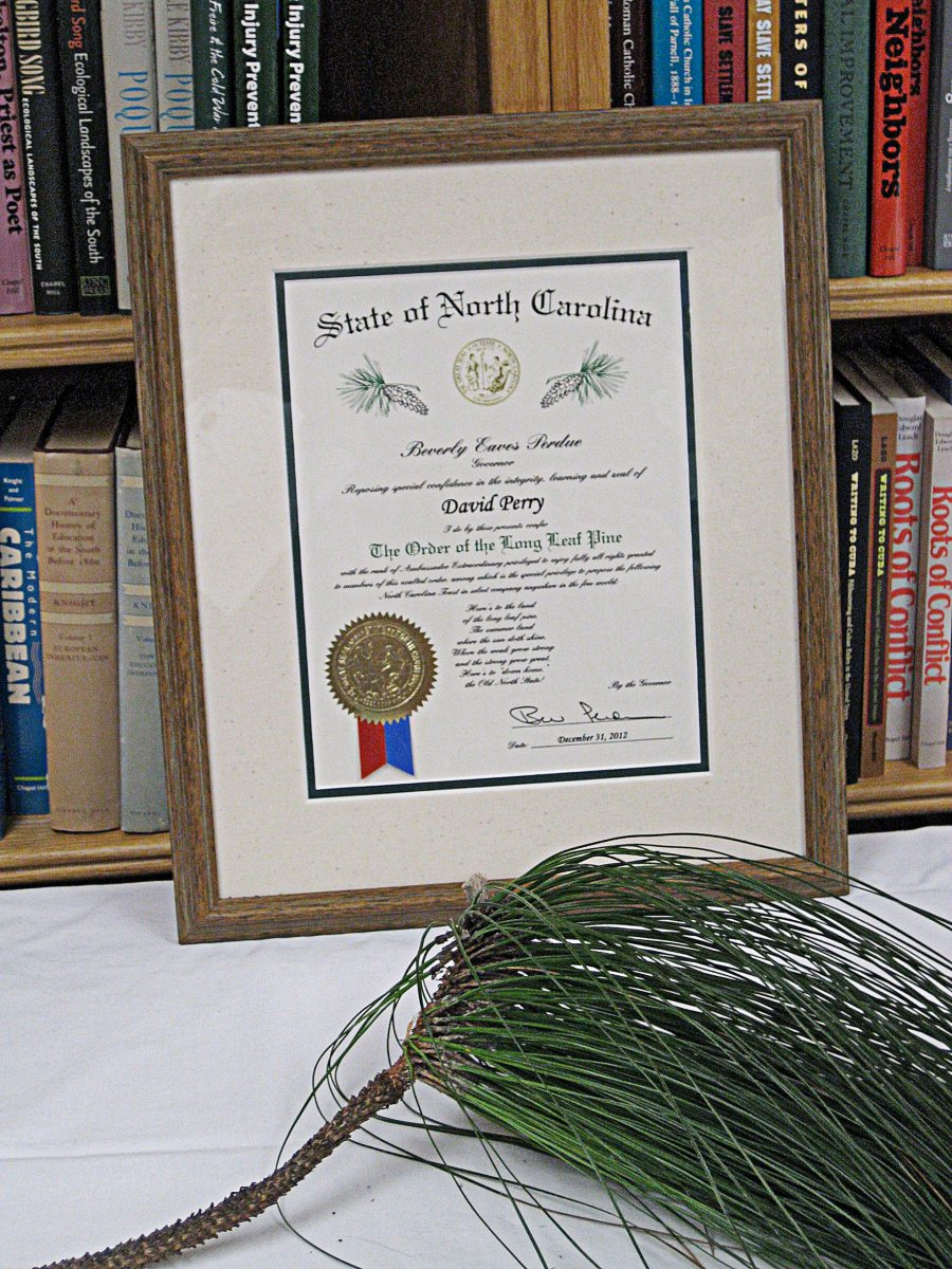 The Order of the Longleaf Pine, awarded to David Perry