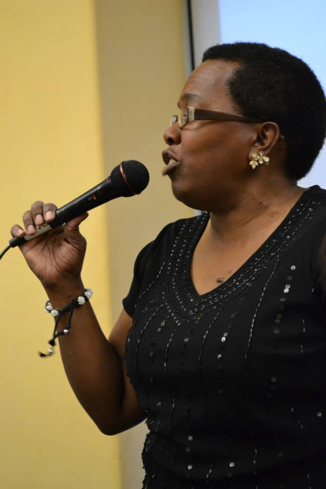 "Robertta F. Johnson Moore doing her thing on the gospel music tip. Adrian Miller ""Soul Food"" book launch party, Denver Public Library 8/17/2013"