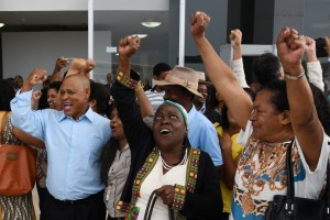 Afro-Brazilian activists celebrating the 2018 decision of Brazil's Supreme Court upholding Decree 4887. Photography by Carlos Moura