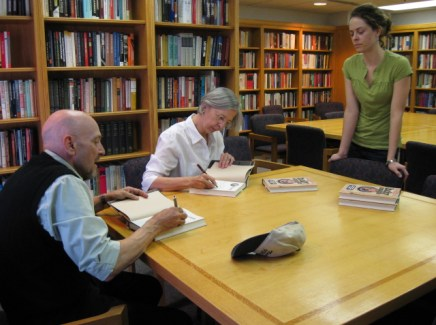 John Shelton Reed and Dale Volberg Reed sign copies of Holy Smoke