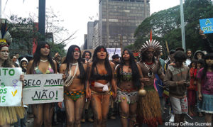 Ysani Kalapalo leads the protest against Belo Monte